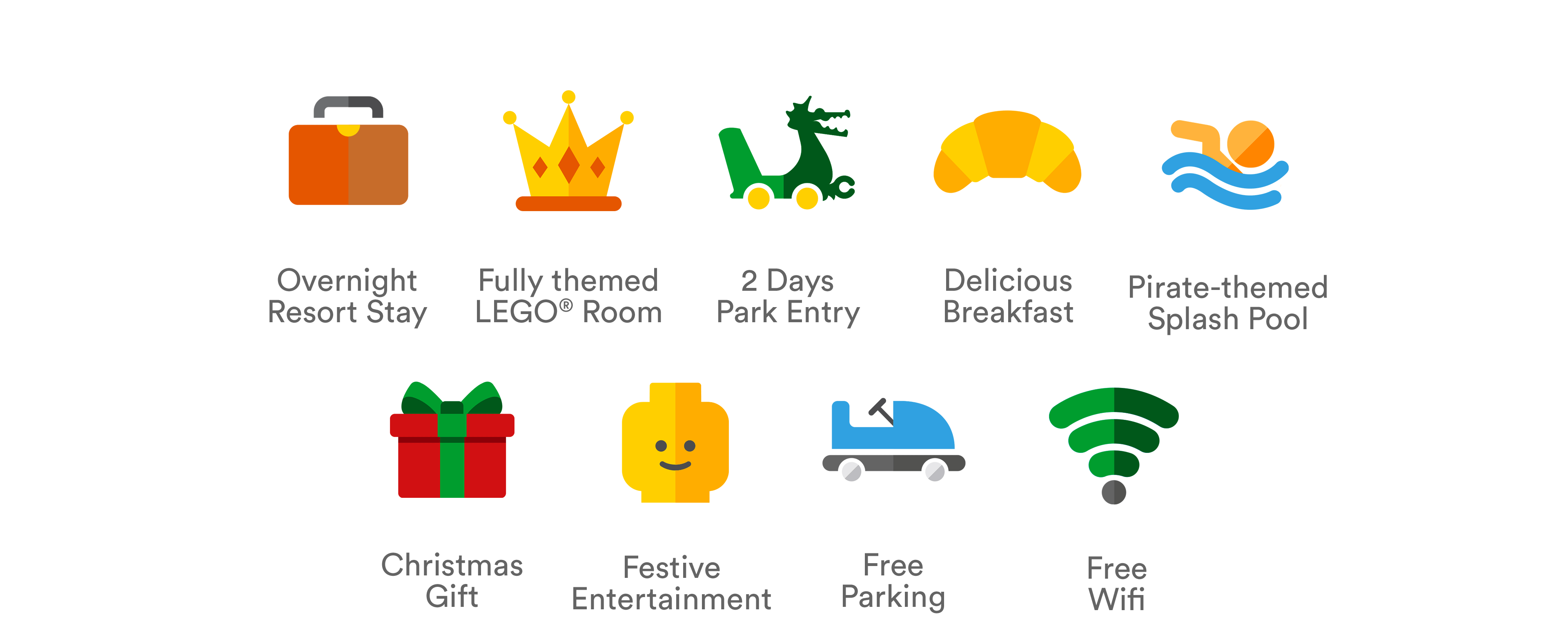 LEGOLAND Windsor Resort Santa Sleepover packages include: an overnight Resort stay, breakfast, evening entertainment, free parking, Father Christmas meet & greet and more!