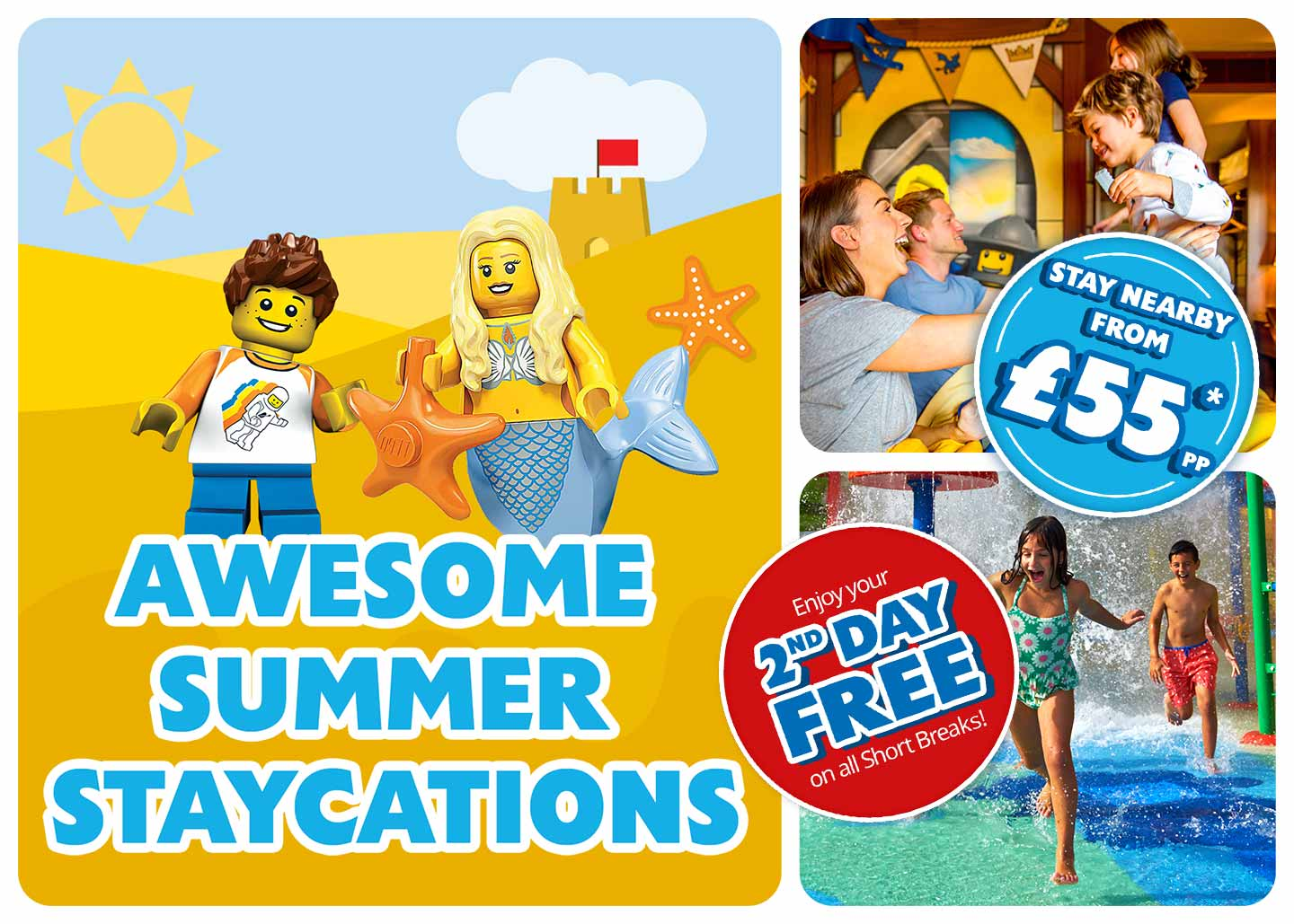 Book today for a Monster summer Stay at LEGOLAND<sup>®</sup> Windsor Resort and enjoy your 2nd Day FREE in the Theme Park!